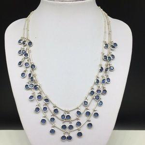 Anne Klein Blue Bezel Set Faux Crystal Necklace